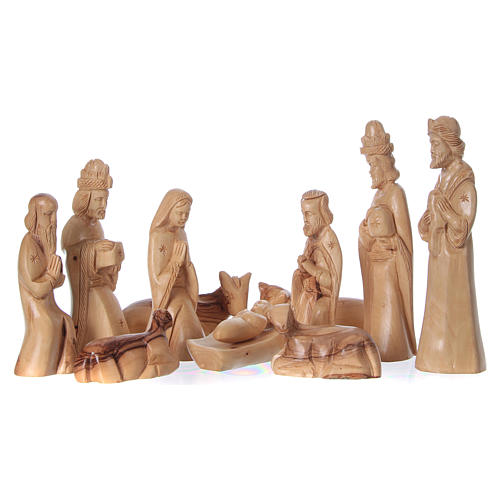 Entire Nativity Olive wood from Bethlehem 21 cm in natural cave 45x30x30 cm 2