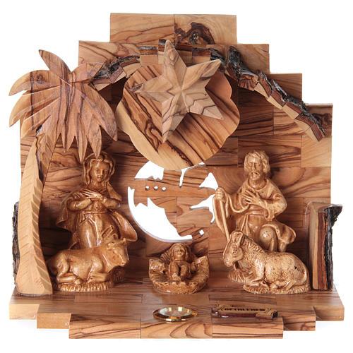 Nativity music box in Bethlehem olive wood 1