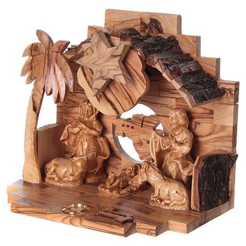 Nativity music box in Bethlehem olive wood 3