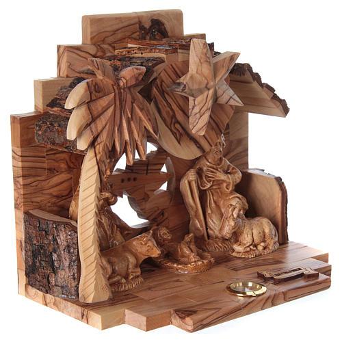 Nativity music box in Bethlehem olive wood 4