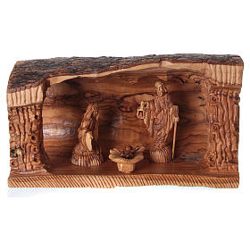 Jerusalem olive wood nativity scene: Cave with Nativity in Bethlehem olive wood 20x30x15 cm