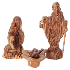 Cave with Nativity in Bethlehem olive wood 20x30x15 cm s2