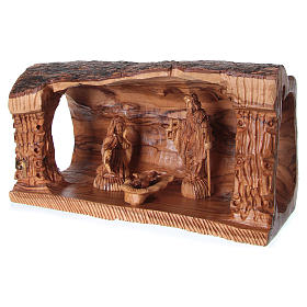 Cave with Nativity in Bethlehem olive wood 20x30x15 cm s3