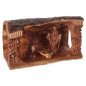 Cave with Nativity in Bethlehem olive wood 20x30x15 cm s4