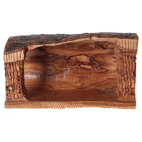 Cave with Nativity in Bethlehem olive wood 20x30x15 cm s5
