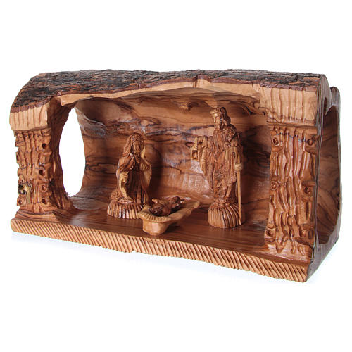 Cave with Nativity in Bethlehem olive wood 20x30x15 cm 3