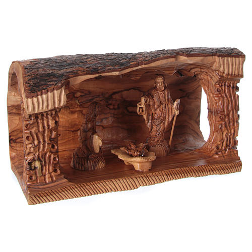 Cave with Nativity in Bethlehem olive wood 20x30x15 cm 4