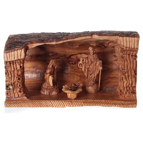 Grotta con Natività in Ulivo di Betlemme 20x30x15 cm 1
