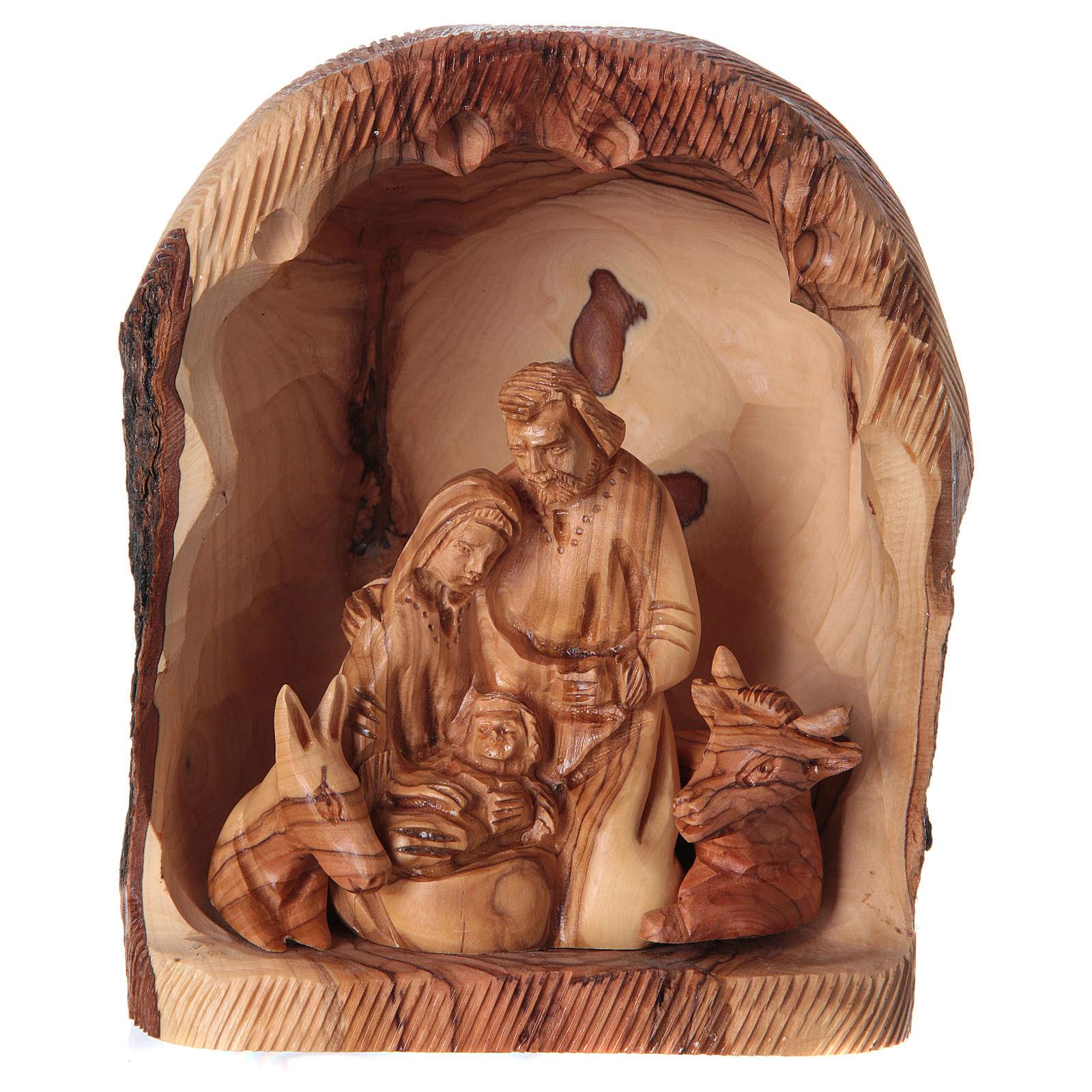 Nicchia con Natività ulivo di Betlemme 20x15x10 cm 4