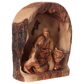 Nicchia con Natività ulivo di Betlemme 20x15x10 cm s4