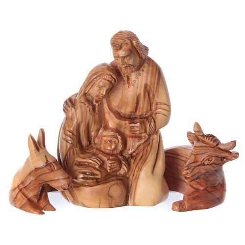 Nicchia con Natività ulivo di Betlemme 20x15x10 cm 2