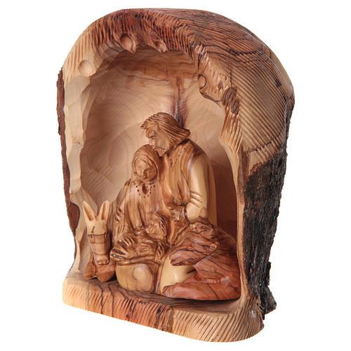 Nicchia con Natività ulivo di Betlemme 20x15x10 cm 3