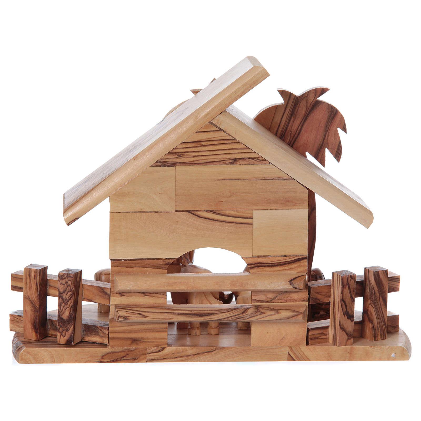 Maisonnette en olivier Bethléem avec set Nativité stylisée 20x25x15 cm 4
