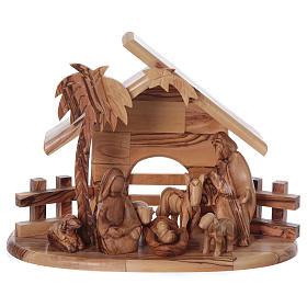 Maisonnette en olivier Bethléem avec set Nativité stylisée 20x25x15 cm s1