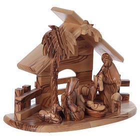 Maisonnette en olivier Bethléem avec set Nativité stylisée 20x25x15 cm s4