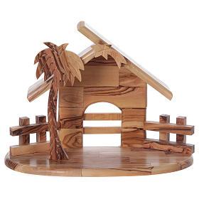 Maisonnette en olivier Bethléem avec set Nativité stylisée 20x25x15 cm s6