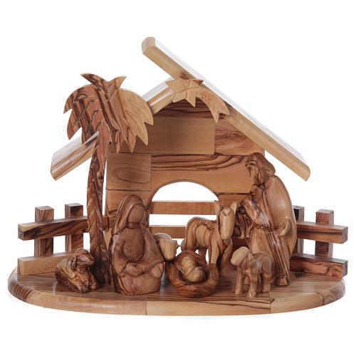 Maisonnette en olivier Bethléem avec set Nativité stylisée 20x25x15 cm 1