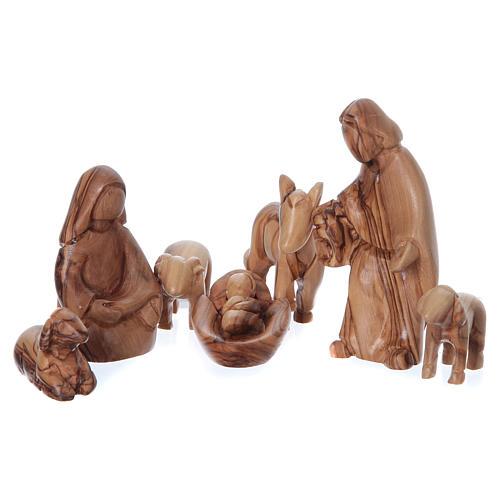 Maisonnette en olivier Bethléem avec set Nativité stylisée 20x25x15 cm 2