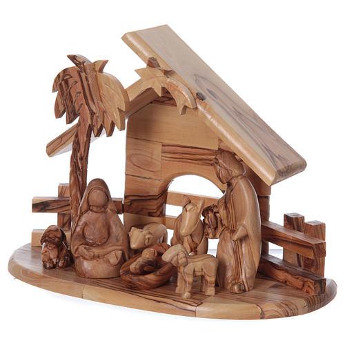Maisonnette en olivier Bethléem avec set Nativité stylisée 20x25x15 cm 3