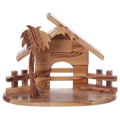 Maisonnette en olivier Bethléem avec set Nativité stylisée 20x25x15 cm 6