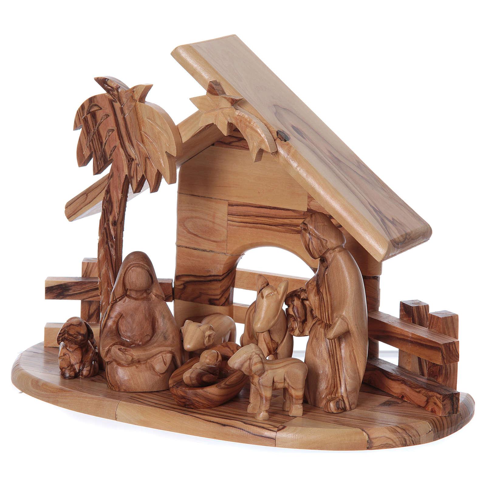 Casetta in ulivo Betlemme con set Natività stilizzata 20x25x15 cm 4