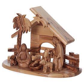 Casetta in ulivo Betlemme con set Natività stilizzata 20x25x15 cm s3