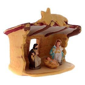 Cabaña con Natividad coloreada de terracota Deruta h.10 cm s3