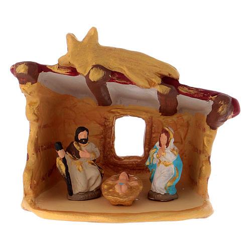 Cabaña con Natividad coloreada de terracota Deruta h.10 cm 1