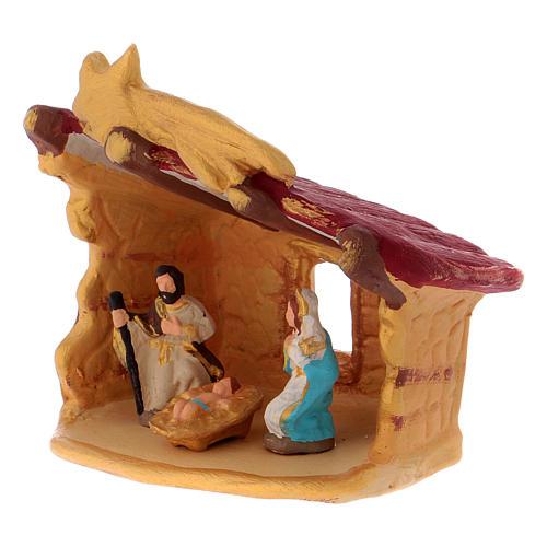 Cabaña con Natividad coloreada de terracota Deruta h.10 cm 2