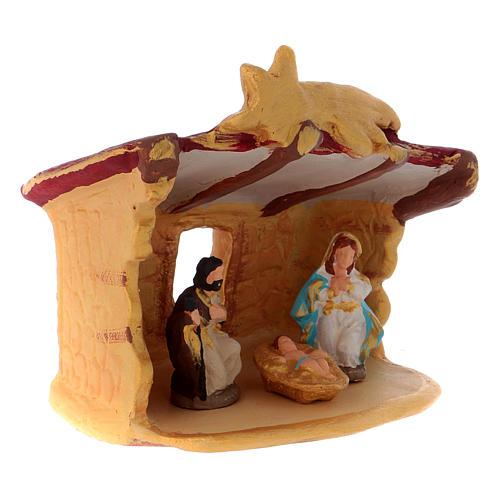 Cabaña con Natividad coloreada de terracota Deruta h.10 cm 3