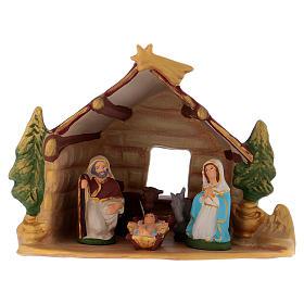 Presépio Terracota Deruta: Cabana com Natividade pintada em terracota Deruta h 20 cm