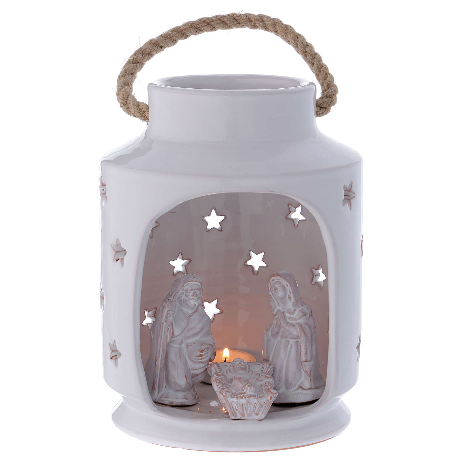 Shack-shaped candle holder with Holy Family in Deruta terracotta 20 cm 4