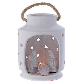 Shack-shaped candle holder with Holy Family in Deruta terracotta 20 cm s1