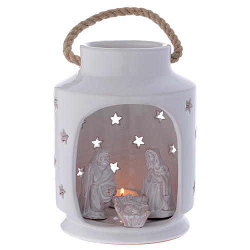 Shack-shaped candle holder with Holy Family in Deruta terracotta 20 cm 1