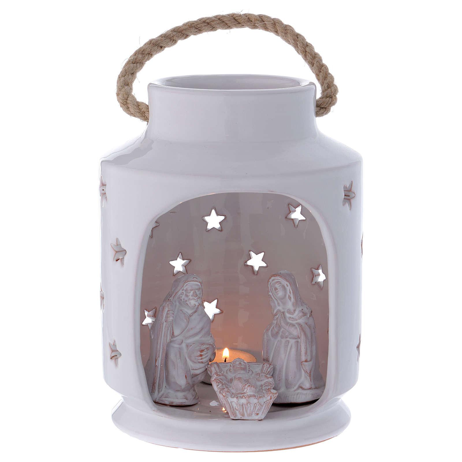 Capanna lume cilindrico con Sacra Famiglia 20 cm terracotta Deruta 4