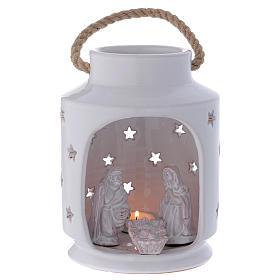 Capanna lume cilindrico con Sacra Famiglia 20 cm terracotta Deruta s1