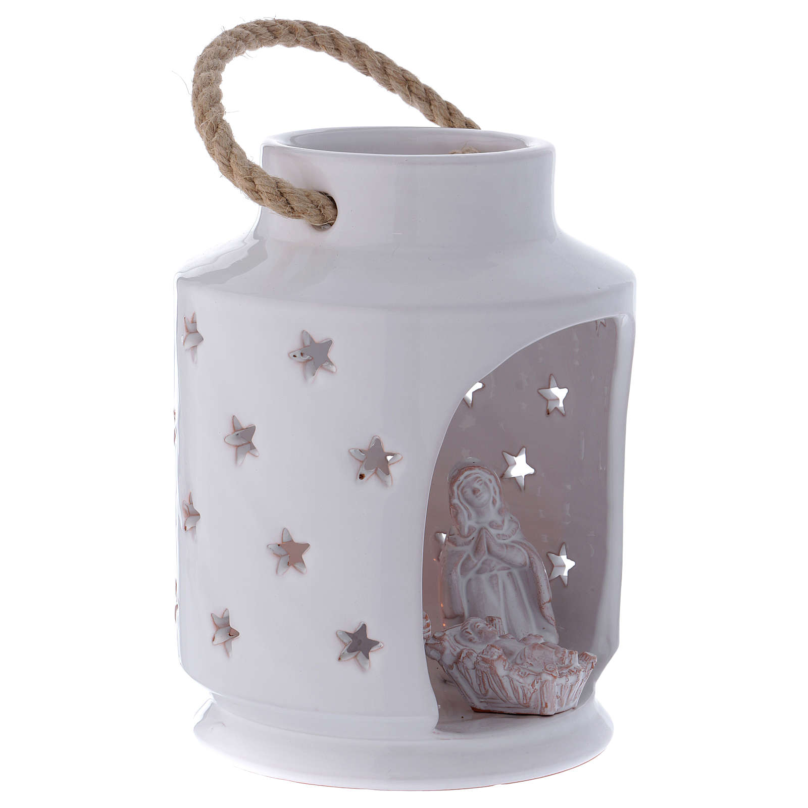 Cylinder Light stable Nativity with Sacred Family 20 cm terracotta Deruta 4