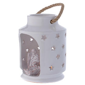 Cylinder Light stable Nativity with Sacred Family 20 cm terracotta Deruta s2