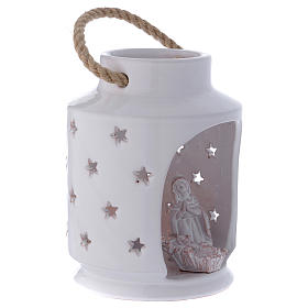 Cylinder Light stable Nativity with Sacred Family 20 cm terracotta Deruta s3