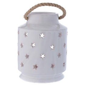 Cylinder Light stable Nativity with Sacred Family 20 cm terracotta Deruta s4