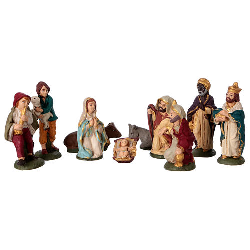Presepe in terracotta Deruta colorata 10 statuine 10 cm 1