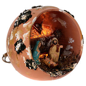 Palla presepe con luce in terracotta Deruta 5 pz s4