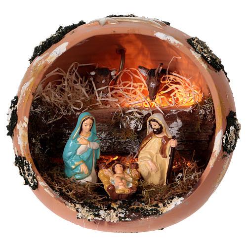 Palla presepe con luce in terracotta Deruta 5 pz 1