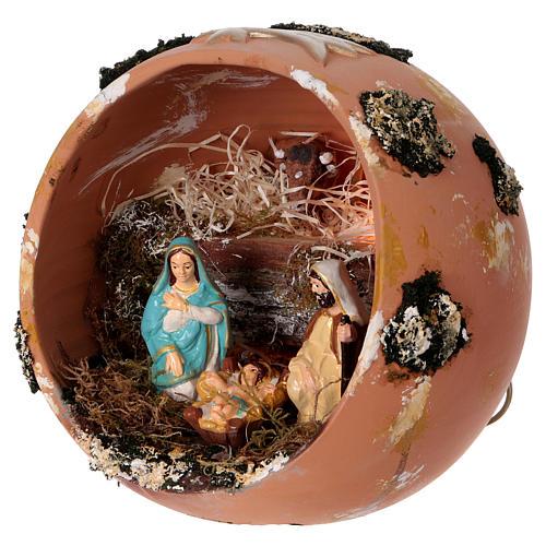 Palla presepe con luce in terracotta Deruta 5 pz 3