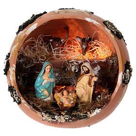 Presépio Terracota Deruta: Bola presépio com luz em terracota Deruta 5 peças