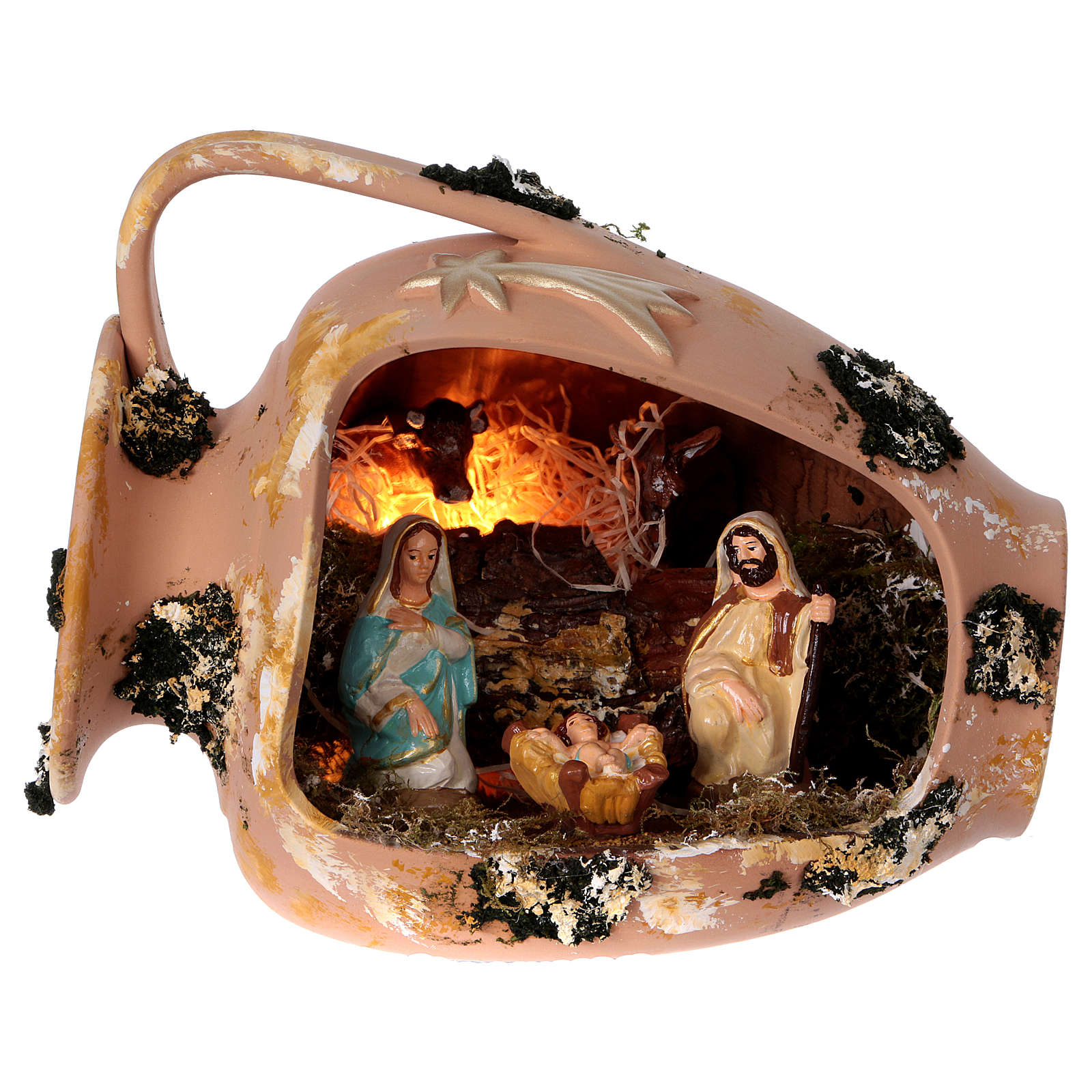 Ánfora tumbada con Natividad de terracota Deruta 4