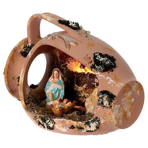 Ánfora tumbada con Natividad de terracota Deruta 3