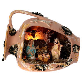 Presépio Terracota Deruta: Jarra deitada com Natividade em terracota Deruta