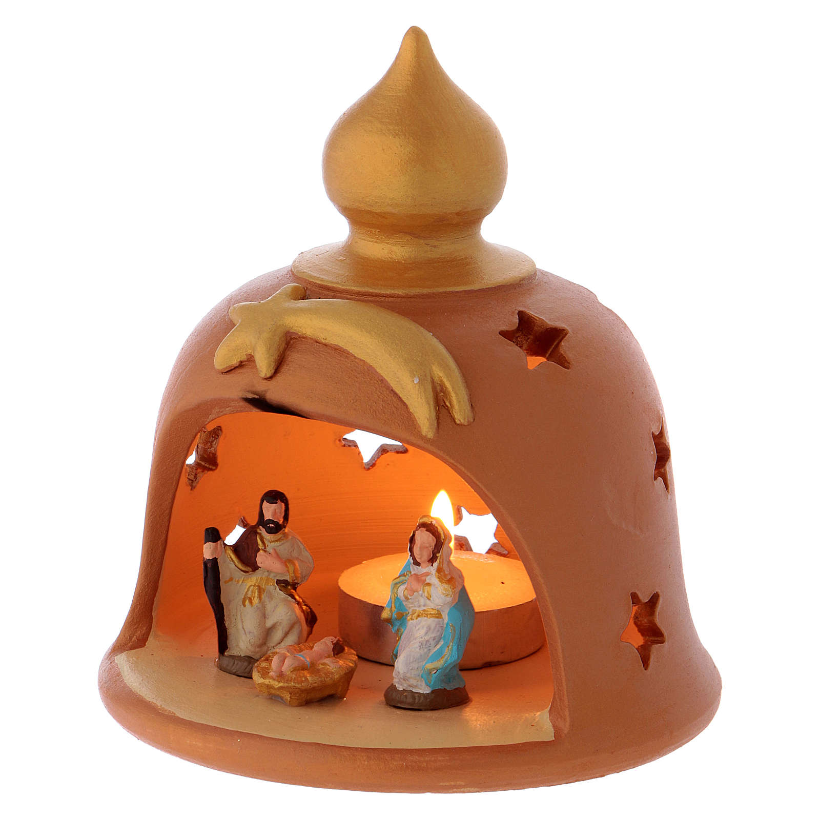 Cabaña con lamparilla decorada terracota Deruta 10 cm 4
