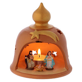Cabaña con lamparilla decorada terracota Deruta 10 cm s1
